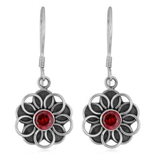 Handmade Sterling Silver Garnet Flower Earrings (Indonesia)|https://ak1.ostkcdn.com/images/products/4070670/P12086819.jpg?impolicy=medium