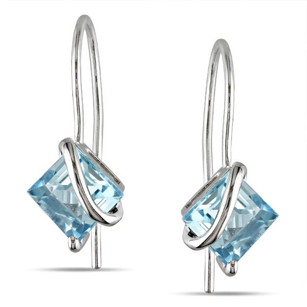 Miadora 10k White Gold Blue Topaz Earrings