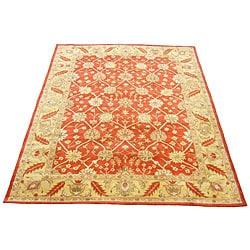 Indo Hand-tufted Kashan Rust Wool Rug (8' x 11')
