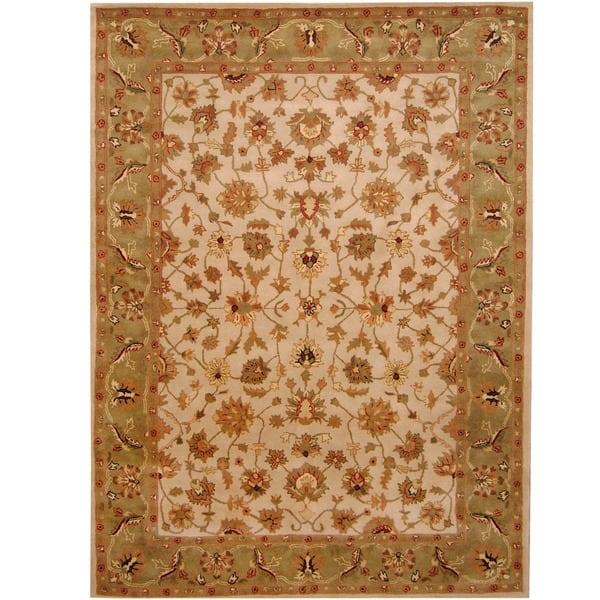 Area Rug 5x8 Indian Rug Light Brown Rug for Living Room Handmade Wool Rug Bedroom La Seda