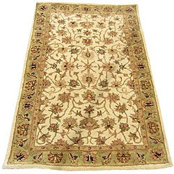 Herat Oriental Indo Hand-tufted Mahal Ivory/ Light Green Wool Rug (2'1 x 3'1)