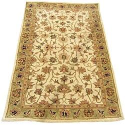 Herat Oriental Indo Hand-tufted Mahal Ivory/ Light Green Wool Rug (2'1 x 3'1)