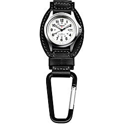 Dakota Men's Black Leather Hanger Carabiner Watch