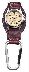 Thumbnail 3, Dakota Men's Brown Leather Hanger Carabiner Watch. Changes active main hero.