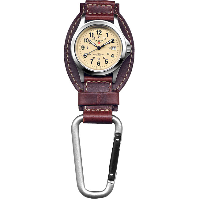 Dakota Men's Brown Leather Hanger Carabiner Watch, Size O...