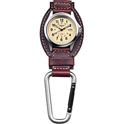 Dakota Men's Brown Leather Hanger Carabiner Watch