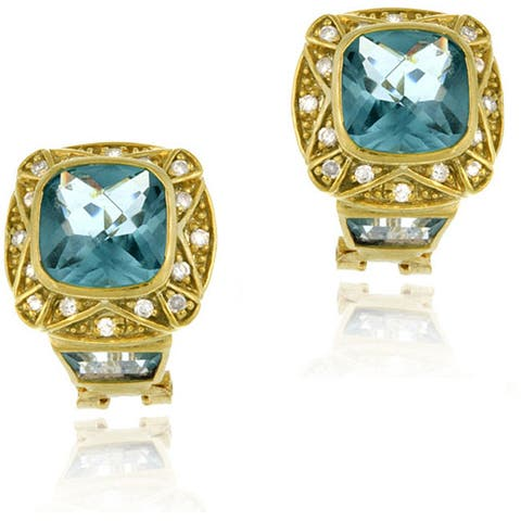 Icz Stonez 18k Gold over Sterling Silver Caribbean Mist Topaz Earrings