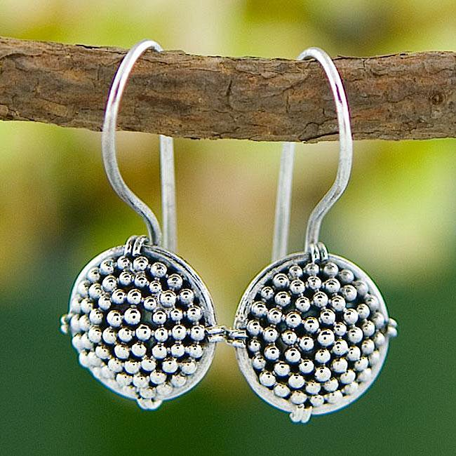 Sterling Silver Beaded Button Earrings (Indonesia)