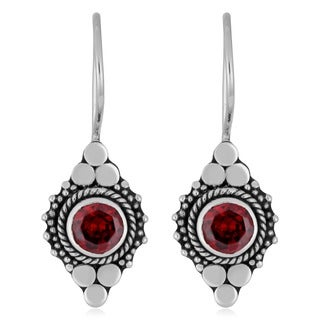Sterling Silver Ornate Garnet Earrings (Indonesia)