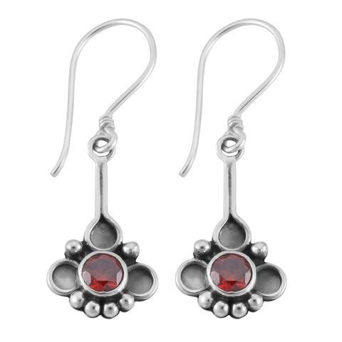 Handmade Sterling Silver Garnet Dangle Earrings (Indonesia)