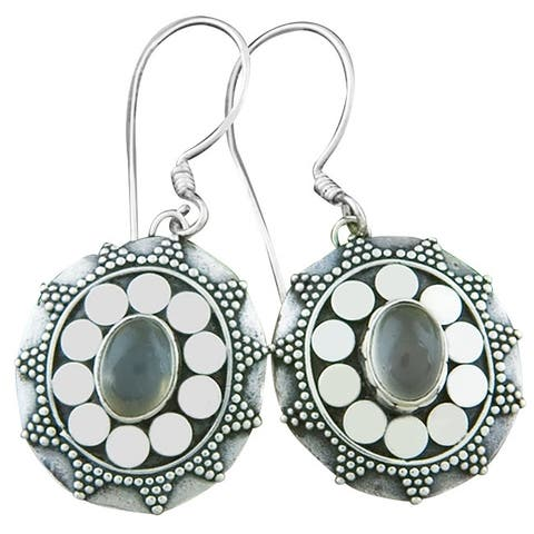 Handmade Sterling Silver Moonstone Dangle Earrings (Indonesia)