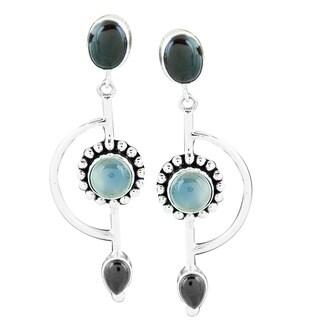 Handmade Sterling Silver Garnet and Moonstone Earrings (Indonesia)