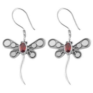 Handmade Sterling Silver Garnet 'Dragonfly' Earrings (Indonesia)|https://ak1.ostkcdn.com/images/products/4071379/P12087326.jpg?impolicy=medium