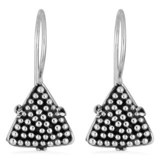 Handmade Sterling Silver Triangle Beaded Earrings (Indonesia)