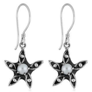 Handmade Silver Freshwater Pearl Flower Earrings (Indonesia)