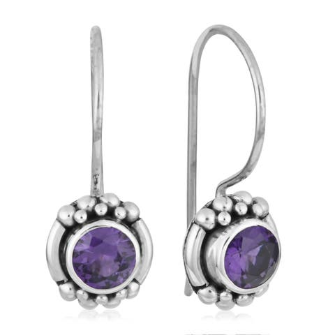 Handmade Sterling Silver Amethyst Gemstone Stud Earrings (Indonesia)