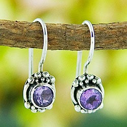Handmade Sterling Silver Amethyst Stud Earrings (Indonesia)