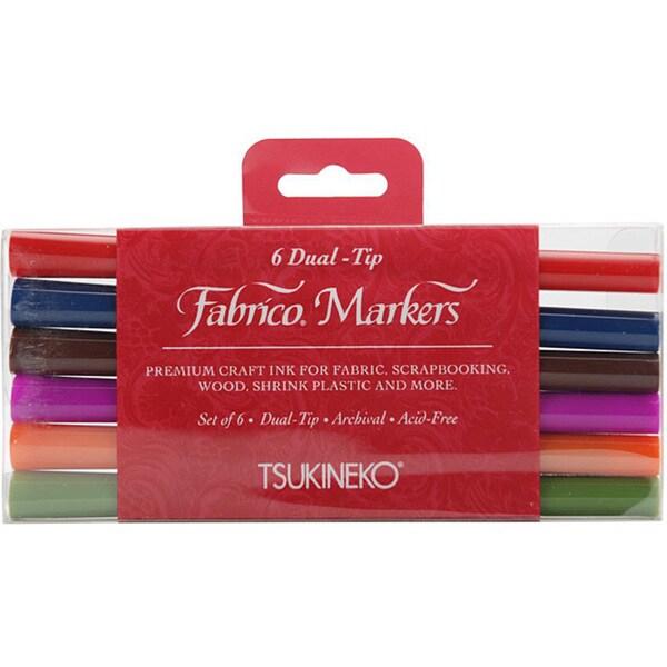 Tsukineko Fabrico 6-piece Dual-tip Marker Kit
