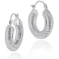 Mondevio Sterling Silver Rope Design Hoop Earrings