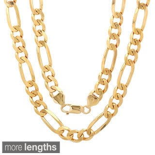 14K Gold Plated Sterling Silver Diamond-cut Figaro Chain (7.5 mm)