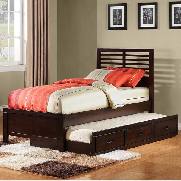 tribecca home ferris cherry fullsize platform bed with trundle unit