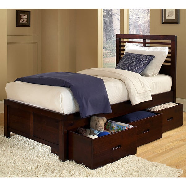 Tribecca home ferris cherry full size platform storage bed Full size storage bed