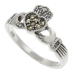 Journee Collection  Sterling Silver Created Marcasite Claddagh Ring - Thumbnail 1