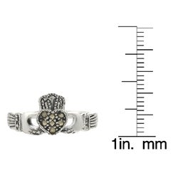 Journee Collection  Sterling Silver Created Marcasite Claddagh Ring - Thumbnail 2