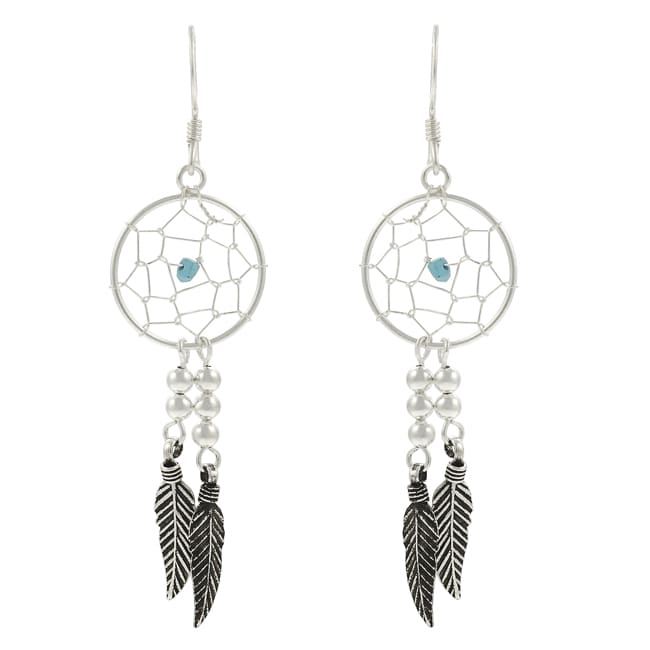 Journee Sterling Silver Created Turquoise 'Dream Catcher' Earrings