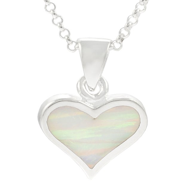 Journee Collection  Sterling Silver White Opal Heart Necklace - Thumbnail 0