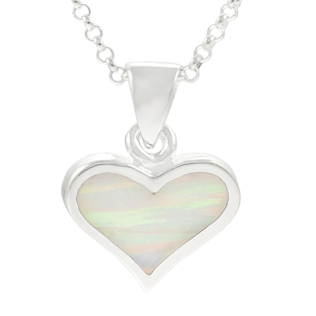Journee Collection  Sterling Silver White Opal Heart Necklace