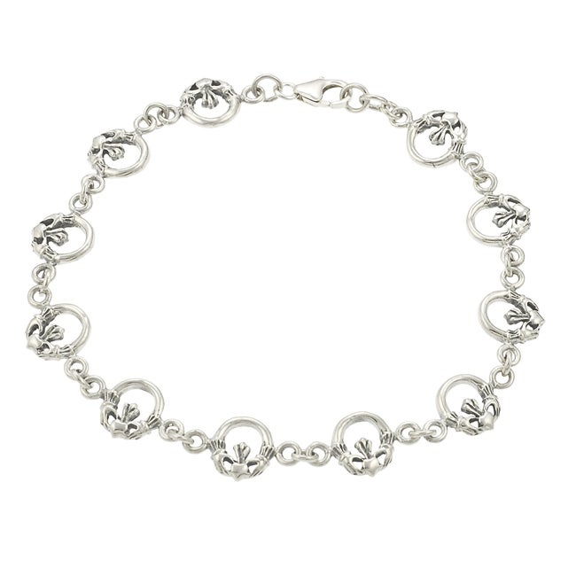 Journee Collection  Sterling Silver Claddaugh Link Bracelet - Thumbnail 0