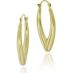 Mondevio 18k Gold/ Sterling Silver Oval Hoop Earrings