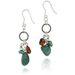 Glitzy Rocks Sterling Silver Turquoise/ Amber Dangling Earrings