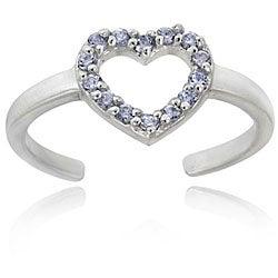 Icz Stonez Sterling Silver Light Purple CZ Heart Toe Ring