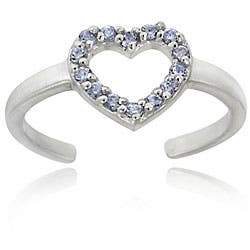 Icz Stonez Sterling Silver Light Purple CZ Heart Toe Ring