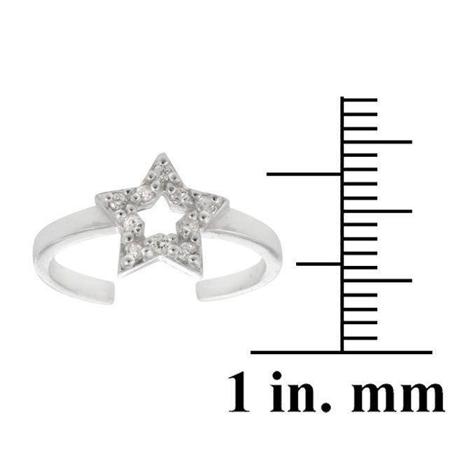 Icz Stonez Sterling Silver CZ Star Toe Ring