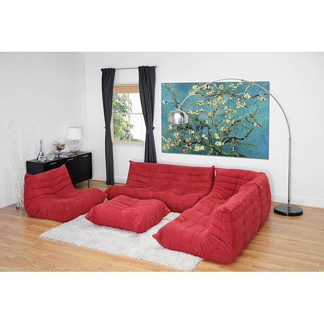Julio Red Fabric Sectional Sofa/ Ottoman Set