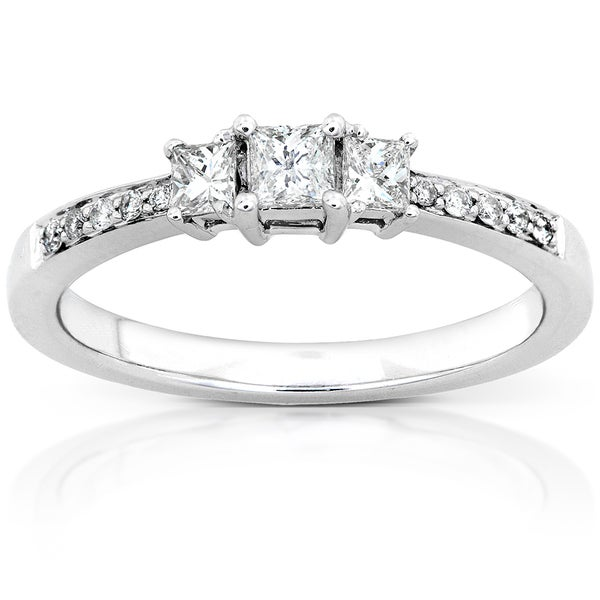 Annello by Kobelli 14k Gold 1/3ct TDW Princess Diamond Engagement Ring (H-I, I1-I2)