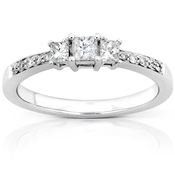 Annello by Kobelli 14k Gold 1/3ct TDW Princess Diamond Engagement Ring