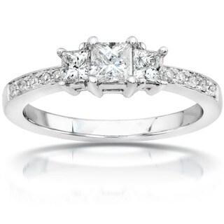 Annello by Kobelli 14k Gold 1/2ct TDW Princess Diamond Engagement Ring