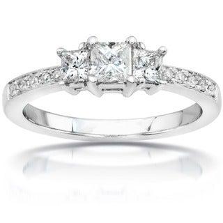 Annello by Kobelli 14k Gold 1/2ct TDW Princess Diamond Engagement Ring (H-I, I1-I2)