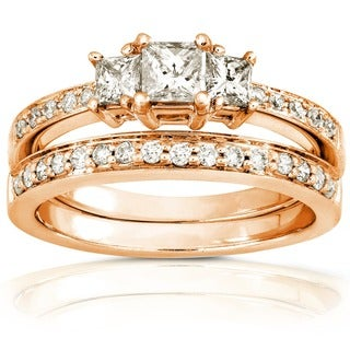 Annello by Kobelli 14k Gold 5/8ct TDW Princess Diamond Bridal Set (H-I, I1-I2)