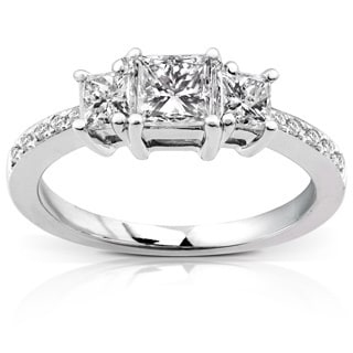 Annello by Kobelli 14k Gold 1ct TDW Princess Diamond Engagement Ring