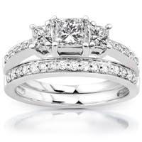 Annello by Kobelli 14k Gold 1 1/6ct TDW Princess Diamond Bridal Set