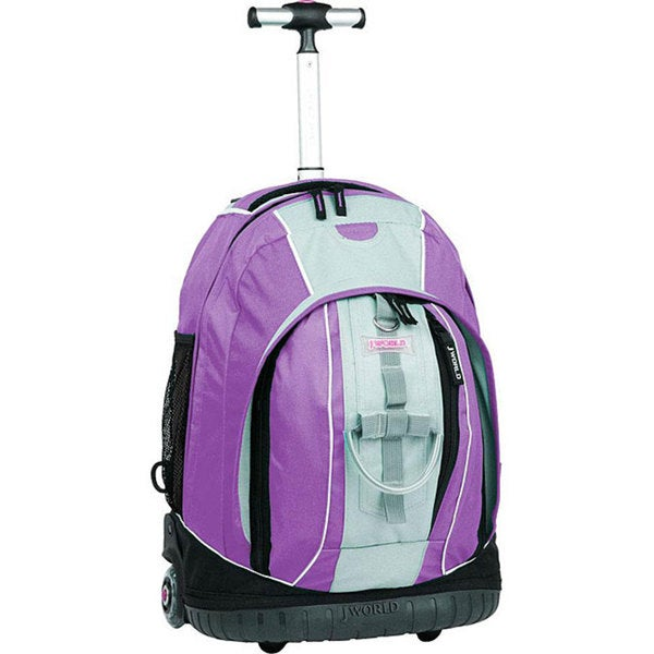 J World 'Twinkle' Lilac Rolling Backpack with Lightning Wheels
