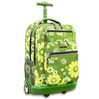J World Sundance Khaki Flower Rolling Laptop Backpack