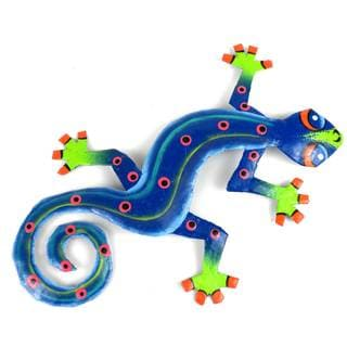 Recycled OIl Drum Painted Blue/ Green Gecko Wall Art  , Handmade in Haiti