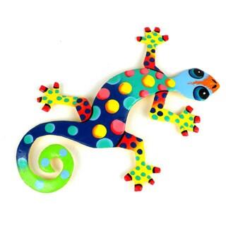 Handmade Recycled Oil Drum Painted Florida Design Gecko (Haiti)