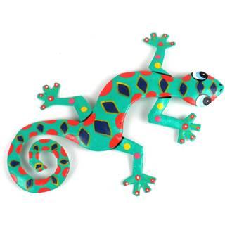 Handmade Painted Spotted Gecko Recycled Drum Metal Art (Haiti)